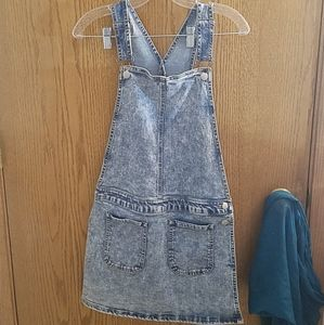 Wild blue bib overall denim skirt jumper